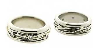 Set ringen van Vinx - witgoud - 3 diamanten - Circles Art&Jewelry - Zwijndrecht