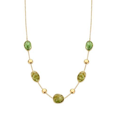 Collier geelgoud groene toermalijn 43cm