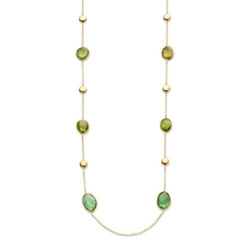 Collier geelgoud groene toermalijn 70cm