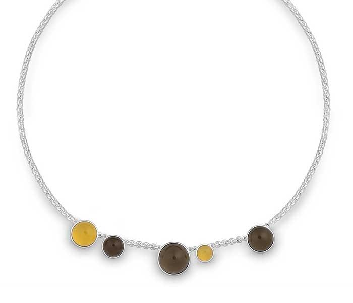 Collier met Citroen en rookkwarts - Circles Art&Jewelry - Zwijndrecht -