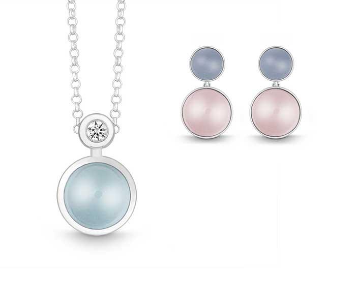 Sieraden van Quinn - Rozenkwarts en Blauwe maansteen - Circles Art&Jewelry - Zwijndrecht