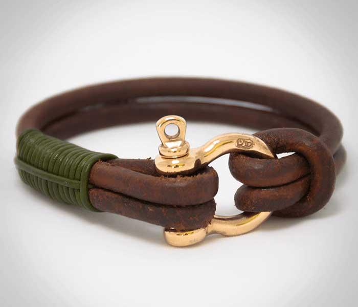 Stoere lederen heren armband met geelgouwen sluiting - Circles Art&Jewelry - Zwijndrecht