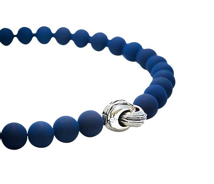 Collier van Blau Lava met massief zilveren sluiting - Circles Art&Jewelry - Zwijndrecht