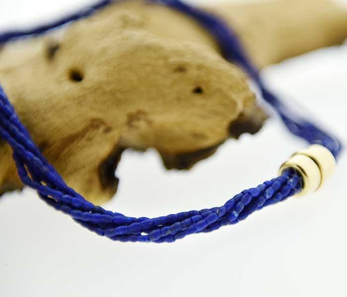 Collier van Lapis Lazuli met slot geelgoud - Circles Art&Jewelry - Zwijndrecht