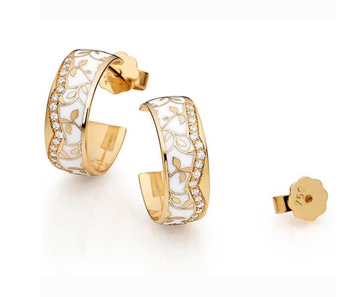 Oorstekers geelgoud met keramiek en diamant - Circles Art&Jewelry - Zwijndrecht