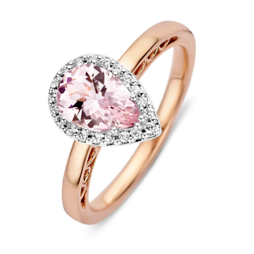 Ring roségoud morganiet+briljant