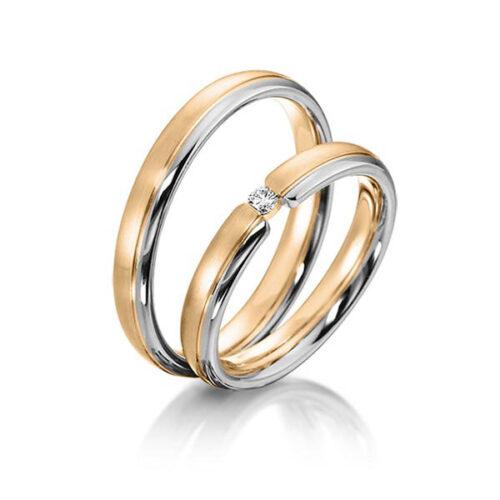 Trouwringen-rosé-met-witgoud-diamant-0.05ct-Circles-Art&Jewelry-Zwijndrecht