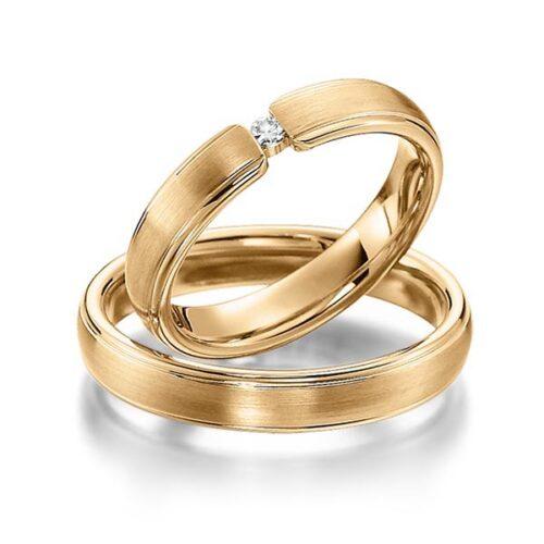 Trouwringen in roségoud-diamant 0.04ct-Circles Art&Jewelry-Zwijndrecht