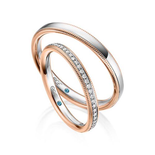 Trouwringen-wit-met-roodgoud-half-gezet-met-diamanten-webshop-Circles-Art&Jewelry-Zwijndrecht