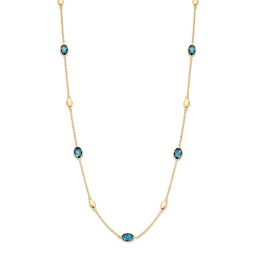Collier geelgoud london blue topaas 45cm