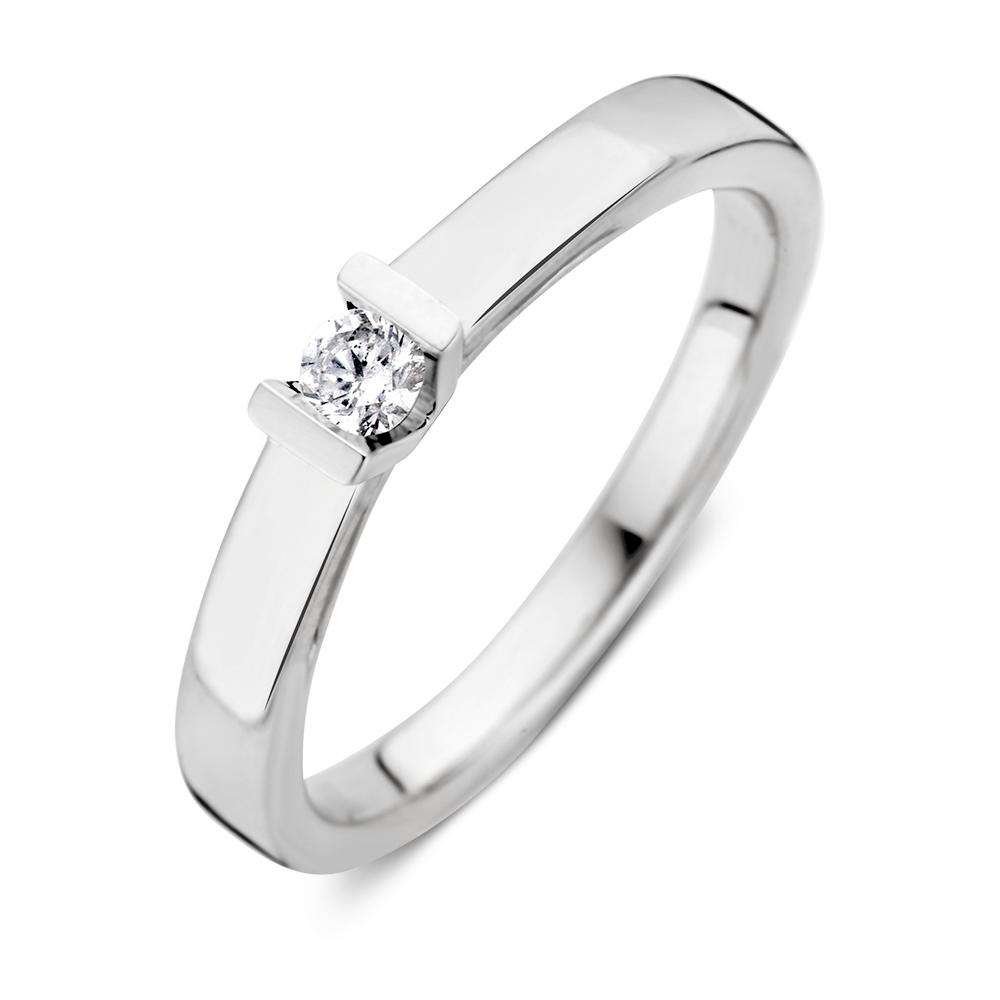 Ring witgoud briljant 0