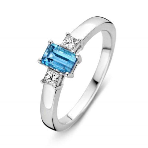 Ring witgoud briljant + aquamarijn