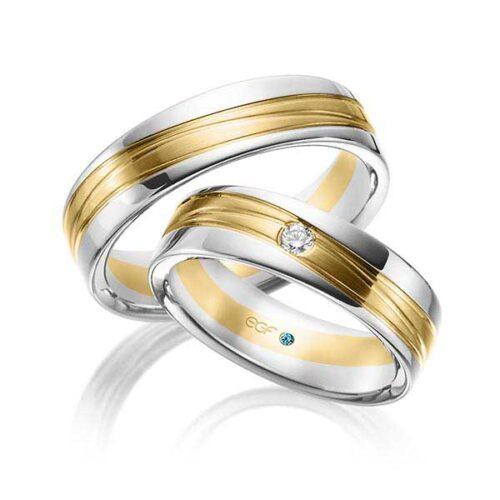 Relatieringen-wit-met-geelgoud-diamat-0.05ct-Circles-Art&Jewelry-Zwijndrecht