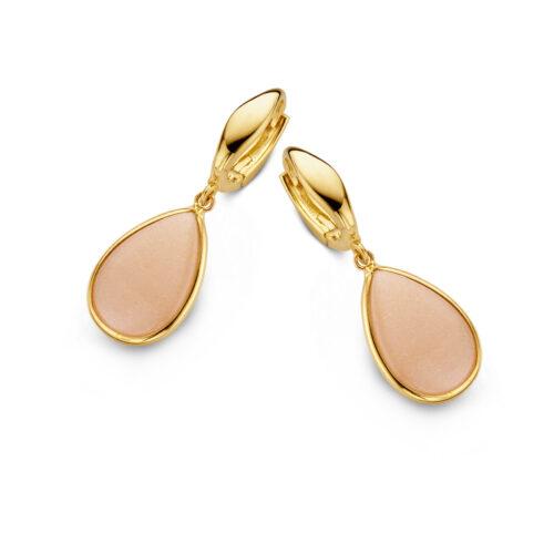 oorhangers geelgoud-roze-maansteen-Exclusieve oorstekers Rotterdam online-Circles Art andJewelry-Zwijndrecht
